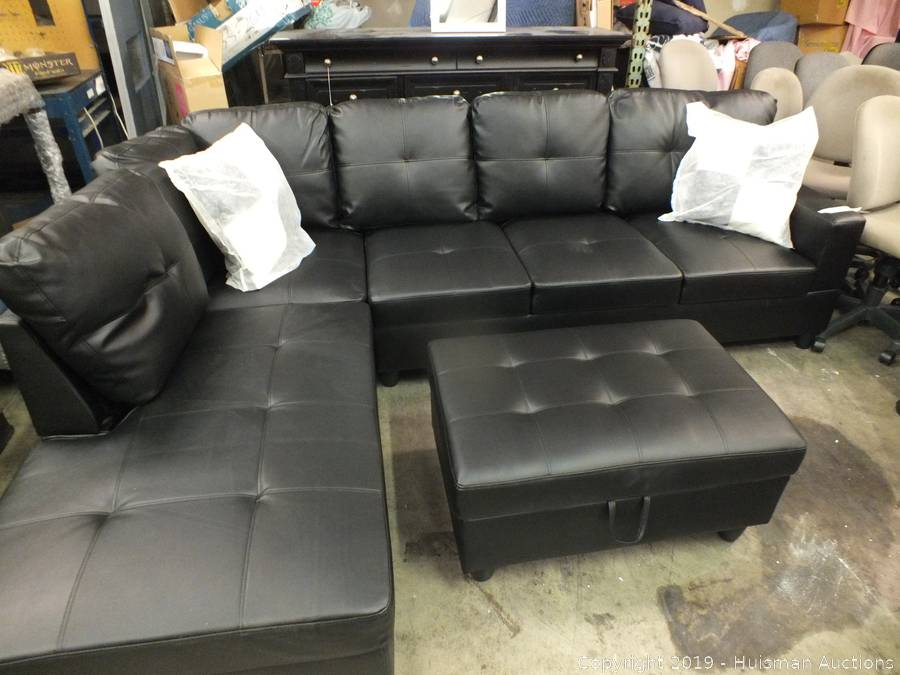 Superb Black Sectional Sofa With Ottoman 85 X 63 Frankydiablos Diy Chair Ideas Frankydiabloscom